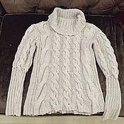 Одежда ручной работы. Ярмарка Мастеров - ручная работа Жемчужный свитер с объёмным воротником. Handmade.
