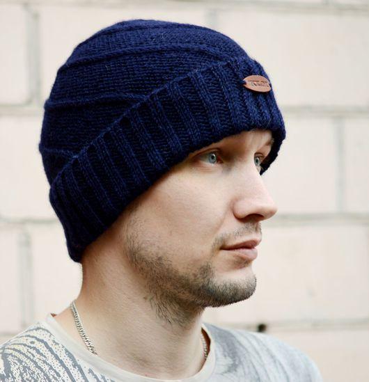 Шапки ручной работы. Ярмарка Мастеров - ручная работа. Купить Классическая шерстяная мужская шапка. Handmade. Тёмно-синий, мужчине