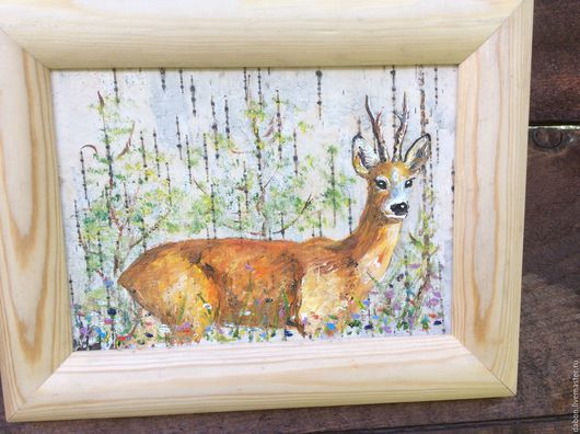 Животные ручной работы. Ярмарка Мастеров - ручная работа. Купить Картина на бересте Косуля. Handmade. Рыжий, полевые цветы