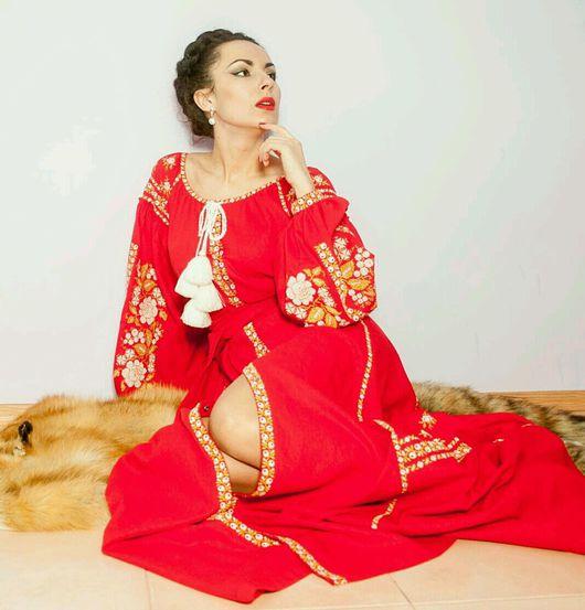 """Платья ручной работы. Ярмарка Мастеров - ручная работа. Купить Женское льняное платье,, Пламя"""". Handmade. Красное платье"""