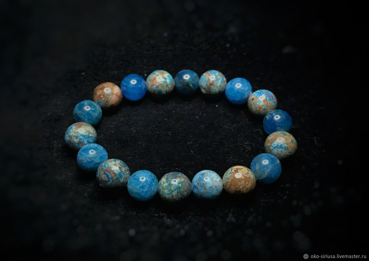 Bracelet made of natural sea Apatite and turquoise Jasper, Bead bracelet, Moscow,  Фото №1