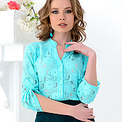 Одежда handmade. Livemaster - original item Blouse with a band made of lace mint green. Handmade.