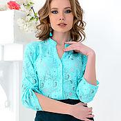 Одежда ручной работы. Ярмарка Мастеров - ручная работа Блуза с планкой из кружева цвета мяты. Handmade.
