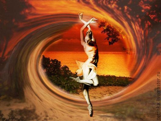 Иллюстрации ручной работы. Ярмарка Мастеров - ручная работа. Купить фотоколлаж: танец и море. Handmade. Рыжий, балерина, море, Фотошоп