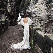 Свадебный салон handmade. Livemaster - original item Lace Wedding Dress L28, Long Sleeve Wedding Dress, Unique Wedding Dres. Handmade.