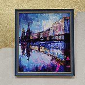 Картины и панно handmade. Livemaster - original item St. Petersburg acrylic painting St. Petersburg street painting houses blue paintings. Handmade.