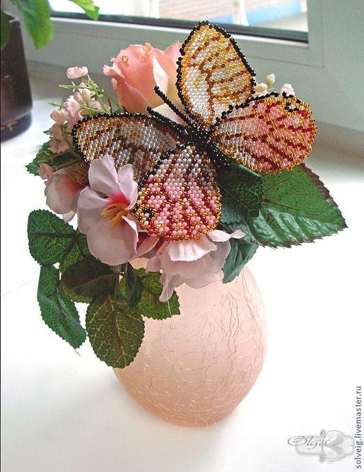 Броши ручной работы. Ярмарка Мастеров - ручная работа. Купить Цитериас аврорина. Бабочка из бисера. Handmade. Бабочка, бисерная бабочка