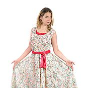 """Одежда ручной работы. Ярмарка Мастеров - ручная работа Топ и юбка из шифона ,,Роза"""" с красным. Handmade."""
