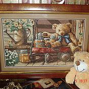 Картины и панно ручной работы. Ярмарка Мастеров - ручная работа Вышитая картина - Медовый мишка. Handmade.