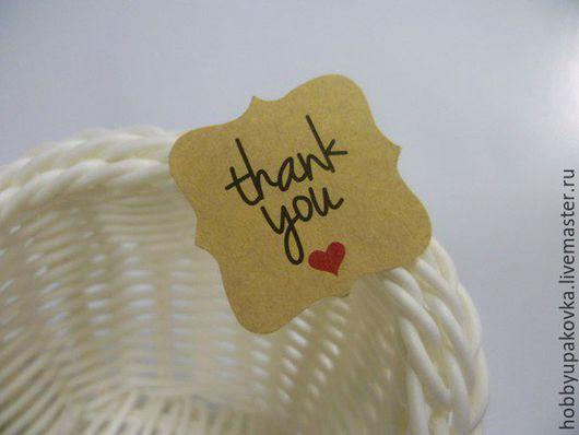Упаковка ручной работы. Ярмарка Мастеров - ручная работа. Купить Крафт-наклейка Thank you для работ handmade. Handmade. Упаковка