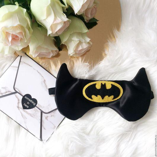 """Белье ручной работы. Ярмарка Мастеров - ручная работа. Купить Маска для сна """"Бэтмен"""". Handmade. Серый, маска для сна, супергерой"""