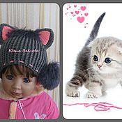 """Работы для детей, ручной работы. Ярмарка Мастеров - ручная работа Вязаная демисезонная шапочка для девочки """"Кошечка"""". Handmade."""