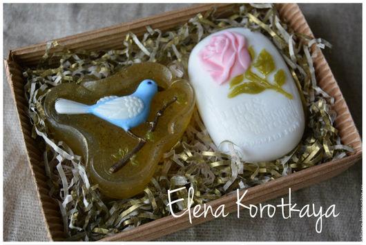 """Мыло ручной работы. Ярмарка Мастеров - ручная работа. Купить """"Птичка и роза"""" Набор мыла ручной работы. Handmade."""