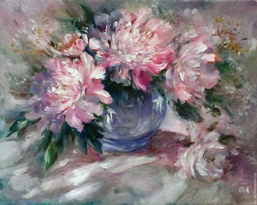 Картины цветов ручной работы. Ярмарка Мастеров - ручная работа. Купить Картина Пионы в синей вазе. Handmade. Розовый, китайский