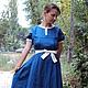 Платья ручной работы. Платье городское синее. СЛАВный стиль от Заряны. Интернет-магазин Ярмарка Мастеров. Однотонный, подарок любимой