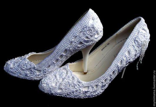 Обувь ручной работы. Ярмарка Мастеров - ручная работа. Купить Вязанные нарядные туфли. Handmade. Белый, вязанная обувь