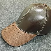 Аксессуары handmade. Livemaster - original item Baseball cap made of Python skin and genuine leather, in brown.. Handmade.