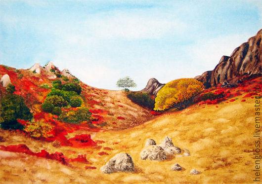 Пейзаж ручной работы. Ярмарка Мастеров - ручная работа. Купить Степь. Handmade. Пустыня, желтый, акварель