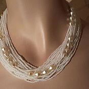 Винтаж handmade. Livemaster - original item Necklace Czech beads white CZECH GLASS new vintage, USSR 1960. Handmade.