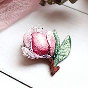 Украшения handmade. Livemaster - original item Brooch Magnolia embroidered satin stitch. Handmade.