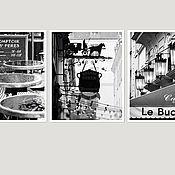 Картины и панно ручной работы. Ярмарка Мастеров - ручная работа Фотокартины черно белые для интерьера кухни, Триптих Парижское кафе. Handmade.