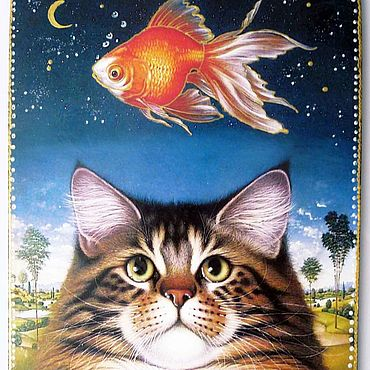 Посуда ручной работы. Ярмарка Мастеров - ручная работа Разделочная доска Мечты о золотой рыбке. Handmade.