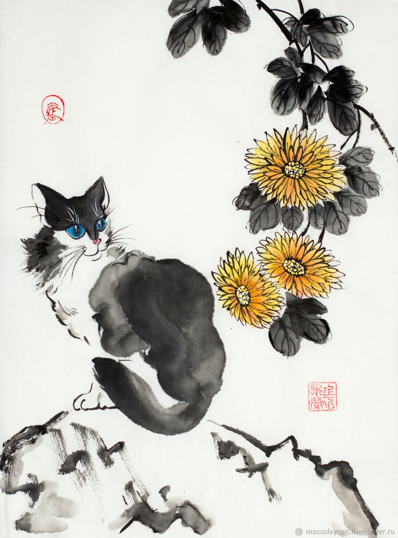 Кошечка и хризантема, Картины, Санкт-Петербург,  Фото №1