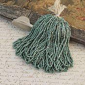 Бисер ручной работы. Ярмарка Мастеров - ручная работа Антикварный коллекционный бисер металлик, граненый, цвет зеленый. Handmade.
