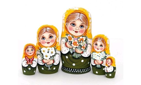 Матрешка Катя с желтыми цветами 5м 17см, Матрешки, Шатура,  Фото №1