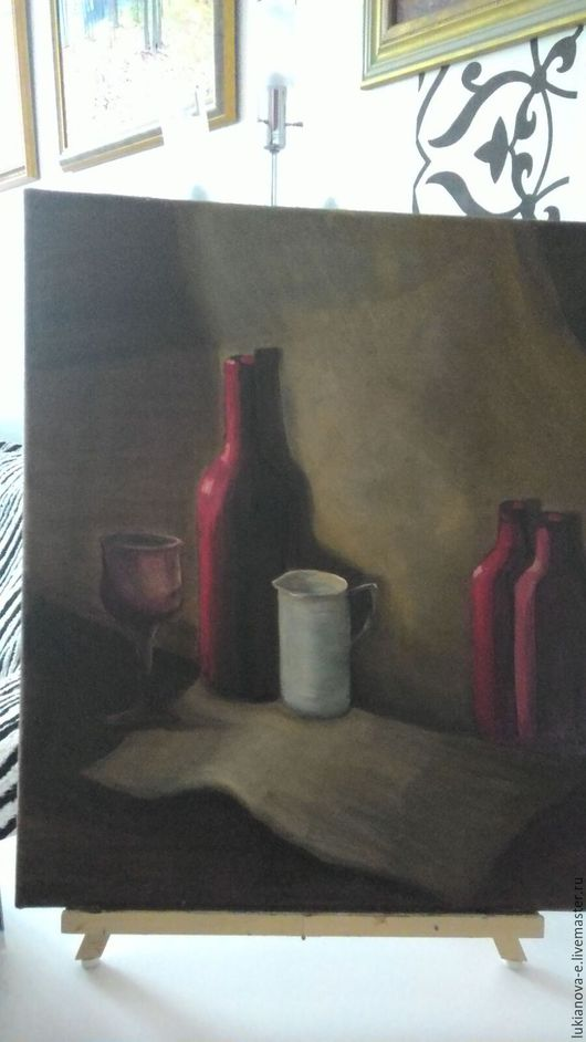Натюрморт ручной работы. Ярмарка Мастеров - ручная работа. Купить Натюрморт с молочником. Handmade. Бордовый, белый цвет, холст на подрамнике