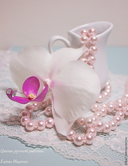 Заколки ручной работы. Ярмарка Мастеров - ручная работа. Купить Заколка орхидея. Керамическая флористика из полимерной глины. Handmade. Белый