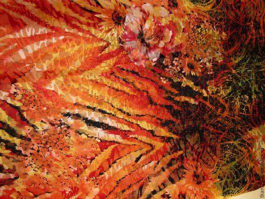 Шитье ручной работы. Ярмарка Мастеров - ручная работа. Купить Шелк шифон-атлас жаккард арт.4 ШК-2 (Корея) оранжево-красный принт. Handmade.