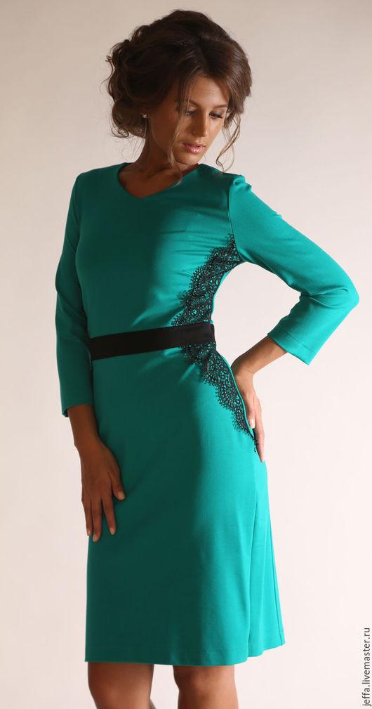Платья ручной работы. Ярмарка Мастеров - ручная работа. Купить рр42,44  Платье с кружевом арт.5360. Handmade. Зеленый