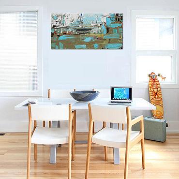 """Картины и панно ручной работы. Ярмарка Мастеров - ручная работа """"Утро в порту"""" 80х40 абстрактная картина маслом мастихином. Handmade."""