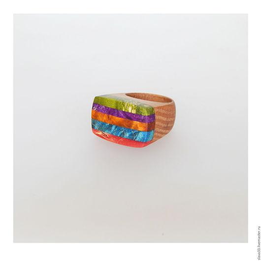 Кольца ручной работы. Ярмарка Мастеров - ручная работа. Купить Разноцветное кольцо из дерева. Handmade. Комбинированный, яркое украшение