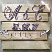 Картины и панно ручной работы. Ярмарка Мастеров - ручная работа Дата свадьбы с инициалами. Handmade.