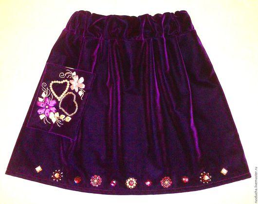"""Для подростков, ручной работы. Ярмарка Мастеров - ручная работа. Купить Комплект: юбочка, сумочка и заколка """"Фиолетовый шик"""". Handmade."""