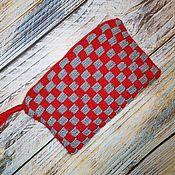 Клатчи ручной работы. Ярмарка Мастеров - ручная работа Красно-серый вязаный клатч. Handmade.
