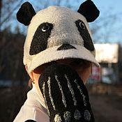 Комплекты аксессуаров ручной работы. Ярмарка Мастеров - ручная работа Комплект бейсболка и варежки Панда. Handmade.