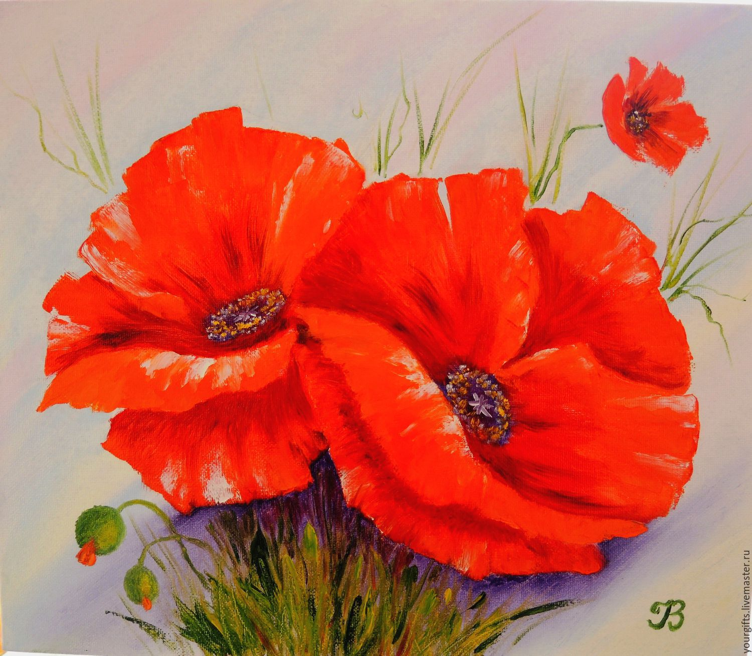 Oil painting flower flowers ideas for review for Bright flower painting