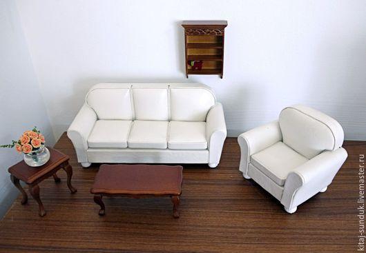 Кукольный дом ручной работы. Ярмарка Мастеров - ручная работа. Купить Диван и кресло для кукольного дома Миниатюра 1:12. Handmade.