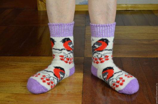Носки, Чулки ручной работы. Ярмарка Мастеров - ручная работа. Купить Носки шерстяные - СНЕГИРИ. Handmade. Комбинированный, теплые носки