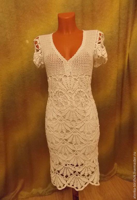 """Платья ручной работы. Ярмарка Мастеров - ручная работа. Купить Платье """"Белая роза"""". Handmade. Белый, вязание на заказ"""
