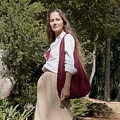 Сумки и аксессуары handmade. Livemaster - original item Bag T shirt made of suede burgundy Bag package String bag suede. Handmade.