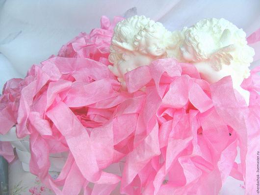 Открытки и скрапбукинг ручной работы. Ярмарка Мастеров - ручная работа. Купить Шебби-лента Светящийся розовый. Handmade. Розовый