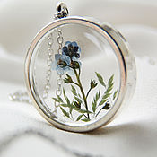 Украшения handmade. Livemaster - original item Transparent large round pendant with real blue forget-me-nots. Handmade.