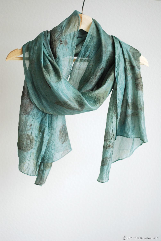 Silk scarf 'Mint rose' Indigo EcoPrint green, Scarves, Moscow,  Фото №1