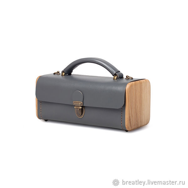 Ladies' STEP graphite leather handbag with wood, Classic Bag, Moscow,  Фото №1