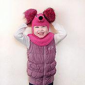 Шапки ручной работы. Ярмарка Мастеров - ручная работа Шапка - шлем зимняя вязаная медвежонок Маша детская, для девочек. Handmade.