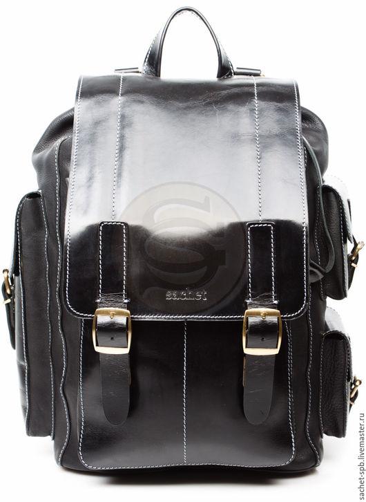 """Рюкзаки ручной работы. Ярмарка Мастеров - ручная работа. Купить Мужской кожаный рюкзак """"Следопыт"""" черный. Handmade. Черный"""